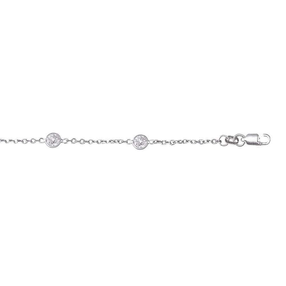 14k White Gold Cable Link Chain Anklet With Lobster Clasp 9 Round Faceted White CZ - 10 Inch