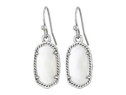 Kendra Scott Signature Dainty Lee Earrings in White & Rhodium Plated