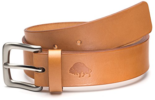 Bison Made Belts- No. 1 Belt In Golden Tan With Genuine English Bridle Leather, Made In - Bridle Leather Tan