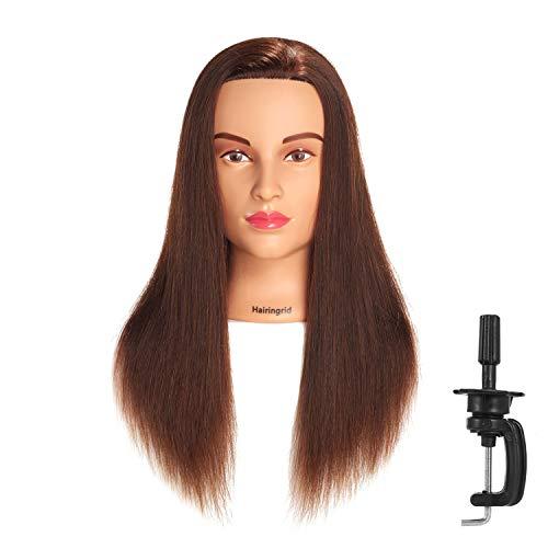 Hairingrid Mannequin Head 20-22 100% Human Hair Hairdresser Cosmetology Mannequin Manikin Training Head Hair and Free Clamp Holder (1907LB0414A)