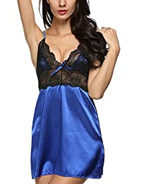 Avidlove Women Strap Lingerie Enchanting Satin Chemise Lace Nightgowns