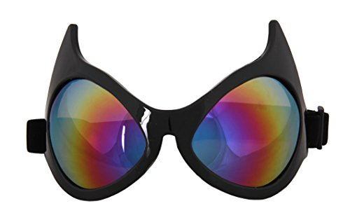 Elope Cat Eye Costume Goggles Black, Rainbow Lenses