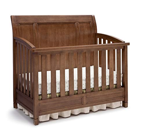 Simmons Kids Kingsley 4-in-1 Convertible Crib with Sleigh Back, Weathered Chestnut Brown