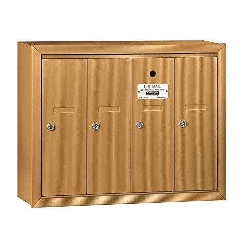 Salsbury Industries 3504BSU Surface Mounted Vertical Mailbox with 4 Doors and USPS Access, Brass