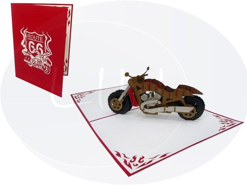 "LIN Pop Up 3D Greeting Card for Motorcycle Fans, Chopper,""Harley"", large card (6 x 7.8 inches), (#160)"