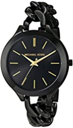 Michael Kors Women's MK3317 Slim Runway Analog Quartz Black Stainless Steel Watch
