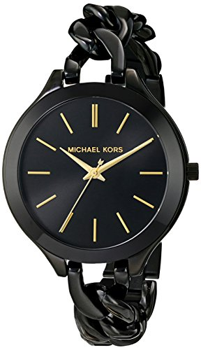 Michael Kors Slim Runway Black With Gold-Tone Stick Markers Womens Watch MK3317