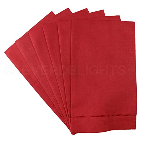 6 Pack - CleverDelights Red Linen Hemstitched Hand Towels - 14