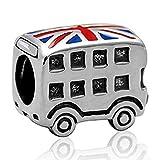 London Double Decker Bus Charm - 925 Sterling Silver British Flag Enamel Bead - for European Style