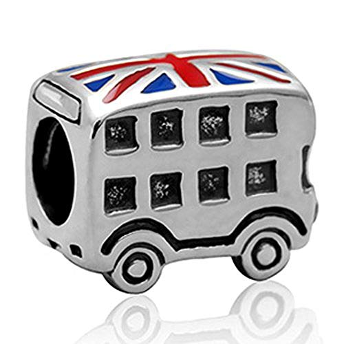 London Double Decker Bus Charm - 925 Sterling Silver British Flag Enamel Bead - for European Style