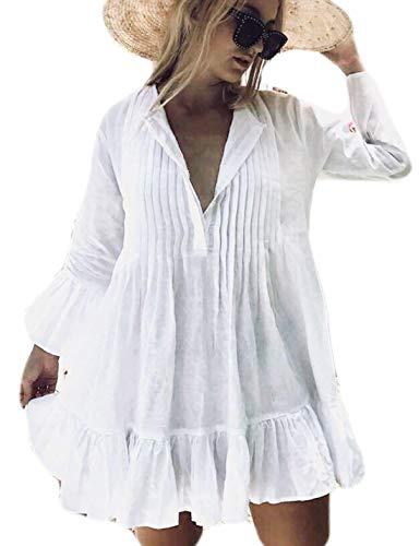 (Ailunsnika Women Rayon White V Neck Beach Tunic Dress Loose Flare Sleeve Hem Ruffles Short Bikini Cover Up)