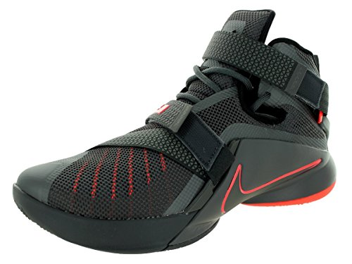NIKE Men's Lebron Soldier IX PRM Dark Grey/Dark Grey/Blk/Ht Lv Basketball Shoe 10 Men US