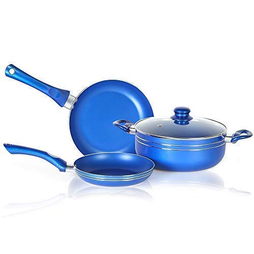 Buy 4 Pcs Non Stick Cookware Set In Blue Color Induction Compatible Oven Safe Ceramic Pots And Pans Cookware Set Including Frying Pan Sauce Pot With Detachable Handle Steam Vented Glass Lid