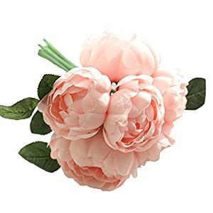 Lljin 1 Bouquet 6 Heads Artificial Peony Silk Flower Leaf Home Wedding Party Decor (Pink) 74