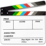 Acrylic Plastic Clapboard Dry Erase Director TV Film Movie Slate Cut Action Scene Clapper Board Slate 12 x10  30cmx25 cm with Color Sticks and 1 Pen White-Color