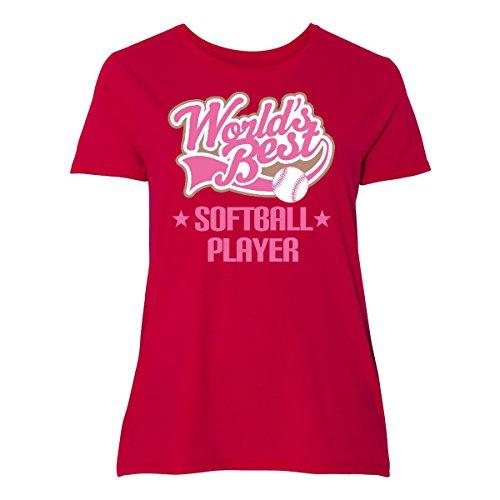 inktastic Worlds Best Softball Player Women's Plus Size T-Shirt 5 (30/32) - Players Best Softball