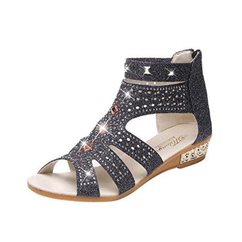 Sandalias Boca Pescado de Verano para Romano de Zapatos Vestir PAOLIAN Cu C de con de Sandalias Blanda a Suela de Mujer Diamante 2018 q1SH10cw