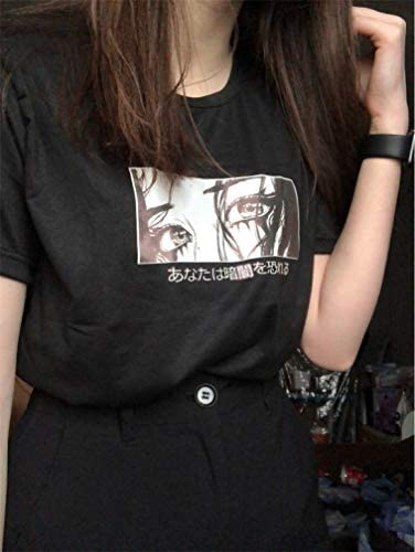 Tasty Life damska tops Haben Sie Angst vor dem duncken japoński luźny t-shirt Harajuku Dark Print Anime modna koszulka dla kobiet na lato: Odzież