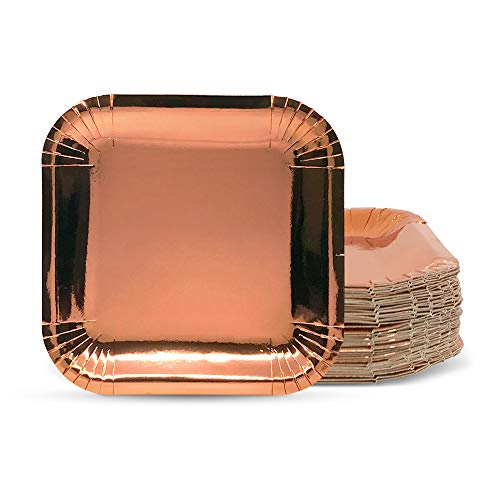 JJgoodlife 60 pack Rose Gold Square Paper Plates Party Supplies. Perfect for lunch, dinner, dessert, snacks, salad, cakes, birthday, anniversary, bridal shower. 48 + 12 pieces free 60 pcs set (9 inch)