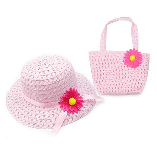 Domccy 2 Pcs/Set Sunflower Sun Hat Hot Summer Flower Cap and Handbag Princess Straw Sun Hat for Baby Girls Pink Jewelry accessories, novelty jewelry, men and women jewelry