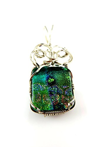 Dichroic fused glass pendant, multi color with sterling silver