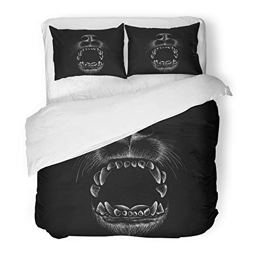 Emvency Decor Duvet Cover Set Full/Queen Size Black Head The Wolf for Design Outwear Hunting Style Motorcycle Painting Tattoo Anger Animal Brush 3 Piece Microfiber Fabric Print Bedding Set Cover