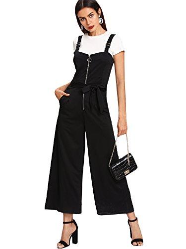 Romwe Women's Zip Front Self Tie Wide Leg Jumpsuit Sleeveless Pockets Sides Long Romper Black S