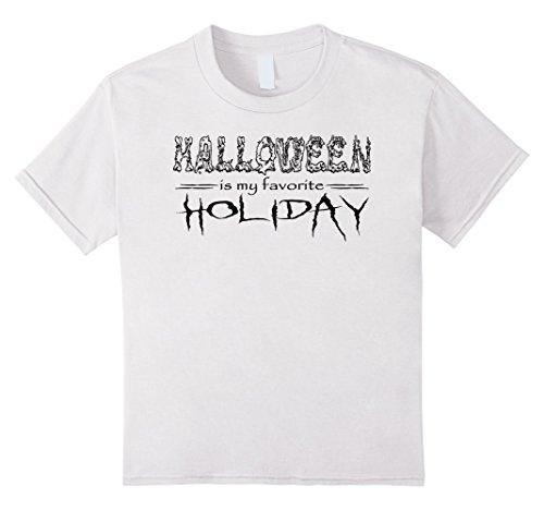 Kids Creepy Halloween is My Favorite Holiday T-Shirt | Black Text 8 White (Halloween Is My Favorite Holiday)