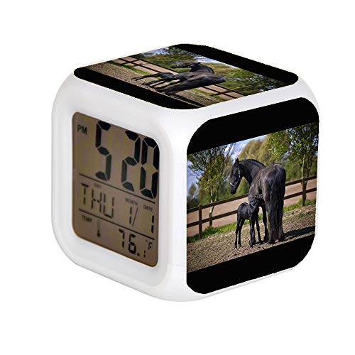 JHSIT 7 Color Change LED Digital Alarm Clock with Date Alarm Thermometer Desktop Table Cube Alarm Clock Child Home Two Black Horse on Field