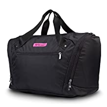 Fitmark Sport Duffel with Removable Meal Prep Insulated Bag with BPA Free Portion Control Meal Containers, Reusable Ice Packs, Black