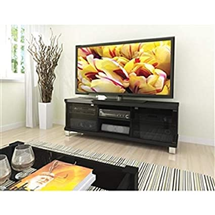 Amazon Com Myeasyshopping Modern Black Tv Stand With Glass Doors