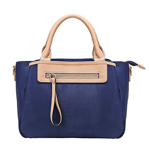 KKXIU Women Handle Handbags Shoulder Lightweight Pockets Zipper Purse Satchel Crossbody Nylon Bags (blue)