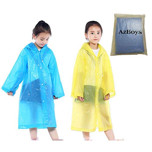 (AzBoys Children Rain Ponchos 2Pack,Blue & Yellow,Waterproof Rain Poncho for Kids,Portable Reusable Raincoat for Boys and Girls Ages 6-12,for School,Camping,Emergency)