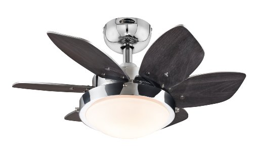 7863100 Quince 24-Inch Chrome Indoor Ceiling Fan, Light Kit with Opal Frosted Glass - Small Fan Ceiling