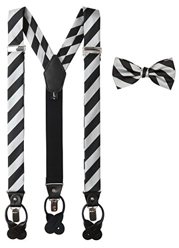Jacob Alexander Matching College Stripe Suspenders and Bow Tie - Silver Black (Tie Silver Stripe)