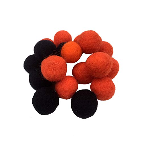 Faironly Wool Balls Felt Hanging Ornaments for Hallween Parties Festival Decoration Woollen Ball Jacquard Felt Hanging Ornament ()