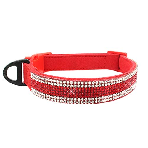 Fashbag Dog Collar Small Pet Dog Adjustable Collar Puppy Cat Rhinestone Neck Collar Dog Leash Collar Perro Arnes Perro Dogs Tag Tasma Red L]()