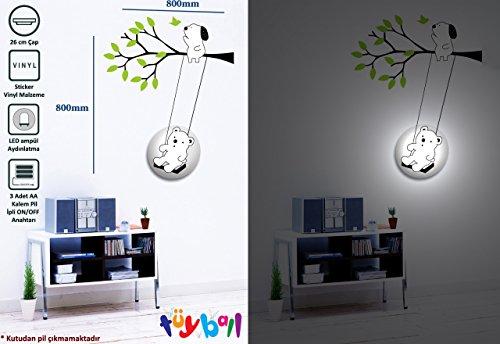 - Featherball 26BL016 Teddy Bear Sticker Wall Lamp