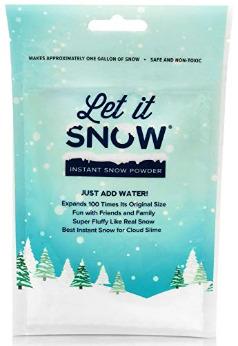 Let it Snow Instant Snow Powder for Slime, Premium Fake Snow Perfect for Cloud Slime Supplies! Made in The USA - Safe and Non-Toxic Children's Party Games Supplies and Crafts