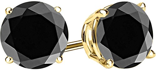 1 Carat Total Weight Black Diamond Solitaire Stud Earrings Pair 14K Yellow Gold Popular Premium Collection 4 Prong Push Back by Houston Diamond District