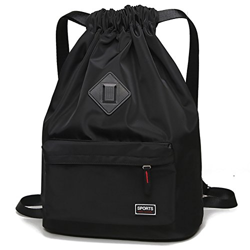 Peicees Waterproof Drawstring Sport Bag Lightweight Sackpack Backpack for Men and Women(Black)]()