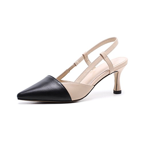 Heels Pointed Leather Mixed Color Shallow Mouth Shoes Simplicity After The Air Slippers High Heel 14