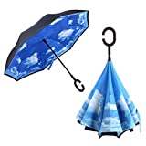 iBaste_S Double Layer Inverted Umbrella C Shape Handle Reverse Folding Umbrella Windproof UV Protection Travel Umbrella Hand Free with Carrying Bag