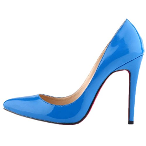HooH Damen Spitz Zehe Stiletto High Heel Pumps Rote Sohle Himmelblau