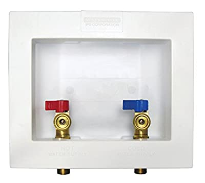 "Water-Tite 82068 Econo Center Drain Washing Machine Outlet Box with Brass Quarter-turn Valves Installed, 1/2"" PEX Connection, White"
