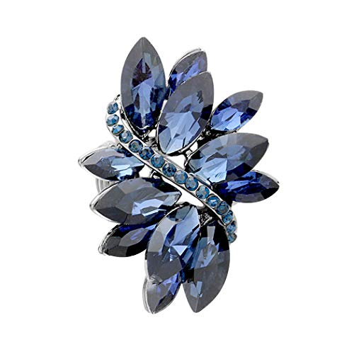 (Rosemarie Collections Women's Dazzling Crystal Leaf Stretch Cocktail Ring (Blue))
