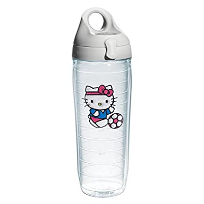 Tervis 1213093 Hello Kitty Soccer Kitty Emblem Water Bottle with Grey Water Bath Lid, 24 oz, Clear