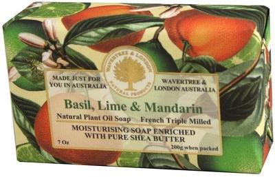 Wavertree and London Basil Lime and Mandarin Australian Natural Luxury Soap Bar 7 Ounces (2 Bars)