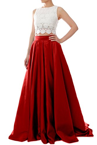 MACloth Women Two Piece O Neck Lace Long Prom Homecoming Dress Evening Ball Gown Burgundy
