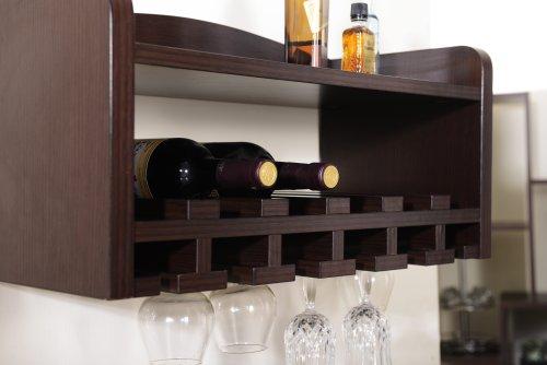 amazoncom iohomes venire wallmounted wine rack and glass holder walnut kitchen u0026 dining